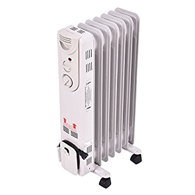 COSTWAY Oil Filled Radiator Heater, 1500W Portable Heater with 3 Heat Settings, 360-Degree Swivel Casters, Adjustable Thermostat, Overheat & Tip-Over Protection, Electric Space Heater for Bedroom