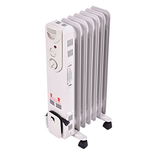 COSTWAY Oil Filled Radiator Heater, 1500W Portable Heater with 3 Heat Settings, 360-Degree Swivel Casters, Adjustable Thermostat, Overheat & Tip-Over Protection, Electric Space Heater for Bedroom Heater Oil Space