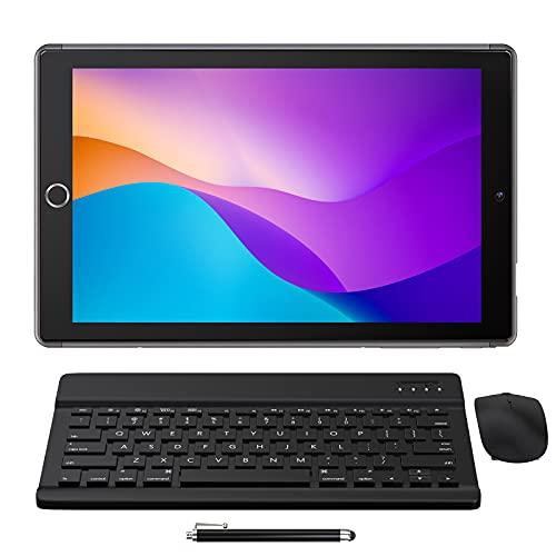 Tablet 10 Pulgadas Android 10.0 - YUMKEM Tableta 8 núcleos 4GB RAM 64GB ROM con   WiFi   Bluetooth   GPS   MicroSD 4-128 GB, Teclado Bluetooth/ratón inalambrico/Funda de Tablet - Gris