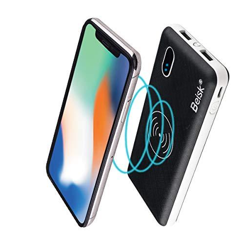 BEISK Power Bank Inalámbrico 10000 mAh con 2 Puertos USB para Xiaomi, Samsung, Huawei y Otros con opción de Wireless Charger. Negro