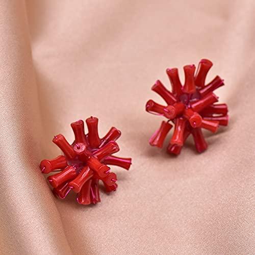 SALAN Pendientes De Botón Hechos A Mano De Plata De Ley 925 De Coral De Bambú del Mar Rojo Natural para Mujer, Joyería De Lujo para Fiesta De Boda