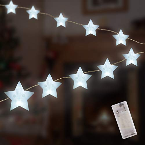 10-LED Star String Lights, 5.58' LED Lights Battery Operated, Waterproof Star Twinkle Lights for Indoor & Outdoor, Wedding Party, Garden, Christmas, New Year Decoration (Warm White)