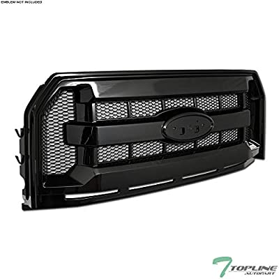 Topline Autopart Black OE Honeycomb Mesh Front Hood Bumper Grill Grille ABS For 15-17 Ford F150
