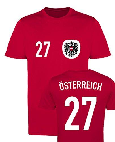 WM EM Trikot - ÖSTERREICH 27 - Herren T-Shirt - Rot/Weiss-Schwarz Gr. S
