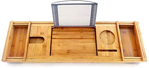 Llq2019 Bañera de bambú Soporte Extensible para bañera de bambú Estante Baño Ducha Bañera Libro Bandeja de Lectura Soporte (Tamaño: B)