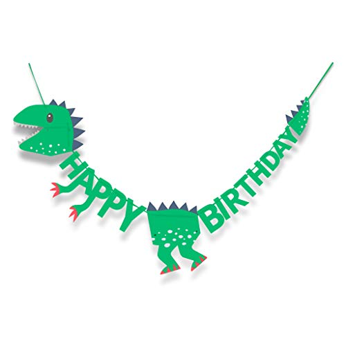 T-Rex Dinosaur Happy Birthday banner - 6 Foot Long and Pre-assembled - Dinosaur Party Supplies and Decorations for Kids Birthday Parties