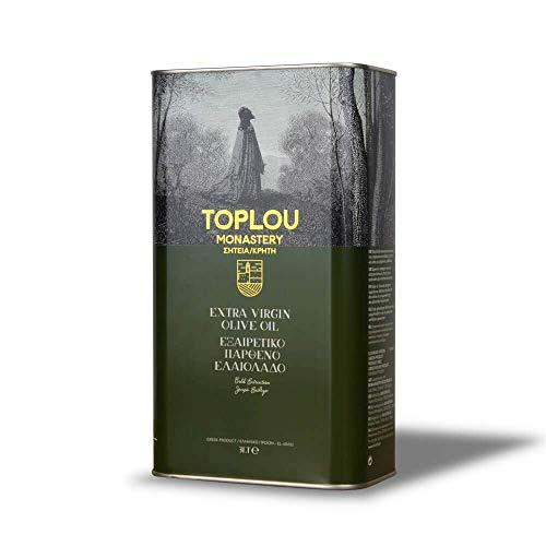 Toplou Monastery - Huile d'olive Extra Vierge de Crète, Première Pression à Froid | 3L bidon | Pour Cheveux, Peau et Aliments