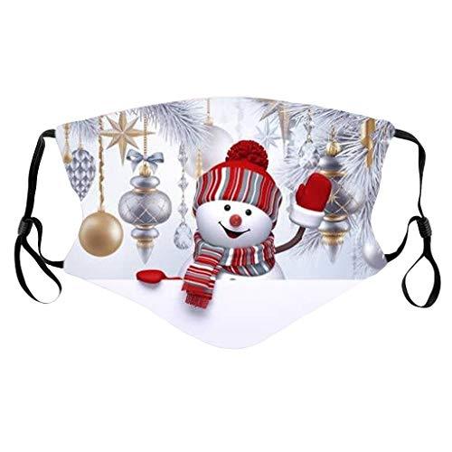 Skang Face Cover Stylische Weihnachten Muster Mundschutz Waschbare Halb Bandana Atmungsaktiv Mundabdeckung Halstuch Accessory Anti-Staub für den Außenbereich