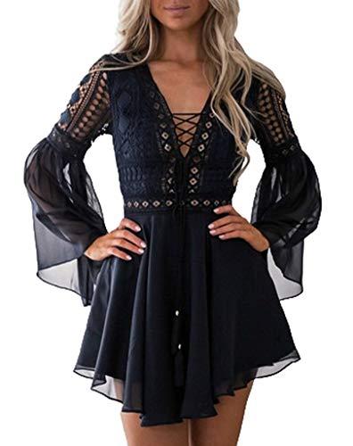 Damen Kleid Abendkleid Kurz Spitze Sommerkleider Flare Sleeve Langarm Kleid V Ausschnitt Minikleid Sexy Cocktailkleid