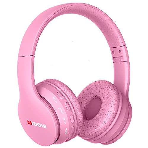 Midola Headphones Wireless Kids Volume Limited 85dB /96dB Bluetooth Over Ear Foldable Stereo Noise Protection Headset with AUX 3.5mm Cord Mic for Boys Girls Cellphone Pad Tablet TV PC Pink