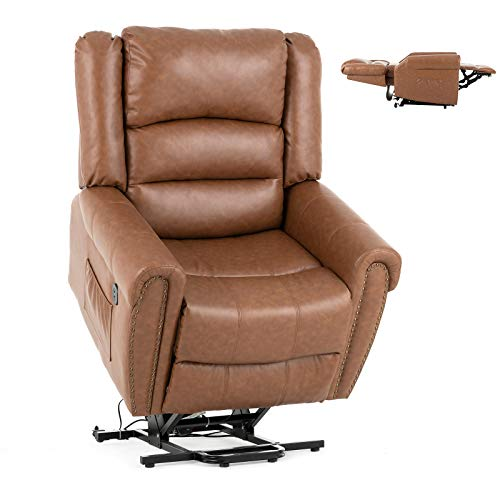 Mecor Lift Chair Dual Motor PU Leather Power Lift Recliner for Elderly Lay Flat Sleeper Recliner with Massage/Heat/Vibration/Remote Control Living Room Chair
