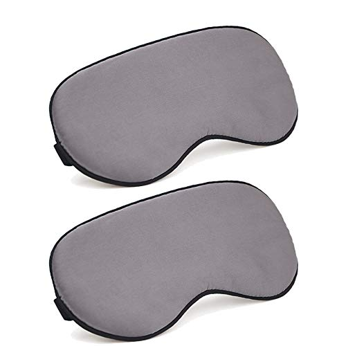 HJBH 2 Pcs Silk Sleep Eye Cover with Elastic Strap, Home Yoga Office Travel Sleep Travel Shift Work Ultra Soft Comfortable Sleeping Mask, Block Out Light 100% Eye Shade Cover.
