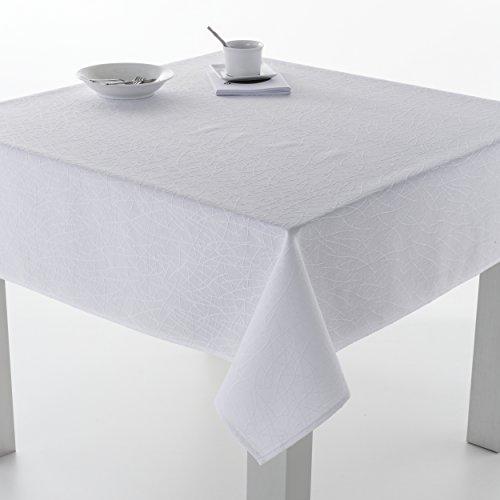 ESTELA - Mantel Burgos Color Blanco - 140x250 cm - Resinado Impermeable - Confección en Dobladillo - Tejido Jacquard - 50% Algodón / 50% Poliéster