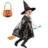 AtRenty Zauberer Umhang mit Hut Kürbistasche für Kinder Halloween Cosplay Kostüme, Hexen Mantel Stern Cape Zauberhut für 3-12 Kinder Kleinkinder Kinder Jungen / Mädchen (Magie Schwarz)