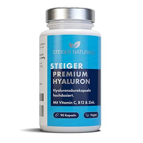 Hyaluronsäure Kapseln – Hochdosiert: 350 mg. 90 Stück (3 Monate). Mit Vitamin C, B12 und Zink. Hyaluron mit 500-700 kDa. Vegan