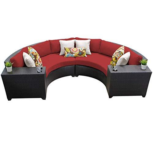 TK Classics 4 Piece Barbados Outdoor Wicker Patio Furniture Set, Terracotta 04c