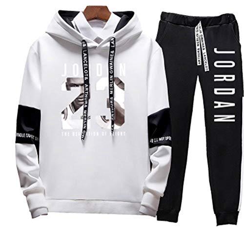 YDYL-LI Neu - Basketball Hoodie - Sportswear - Set # 23 Michael Jordan Casual - Street Fashion Buchstaben Gedruckt Pullover Sweatshirt + Hosen, Weiße Steigung,4XL
