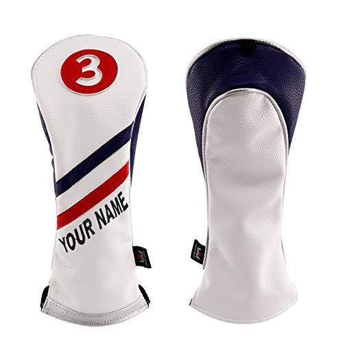 Craftsman Golf White Blue Red Pu Leather Diagonal Stripes Driver/Fairway Wood/Hybrid Headcover #1#3#5 H for All Brands Callaway Big Bertha Cobra Taylormade Ping Mizuno Etc.(4pcs (1,3,5,H))