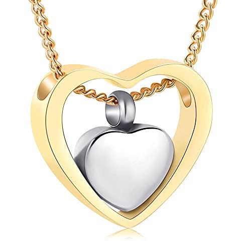KBFDWEC Collar de urna de Doble corazón para Cenizas, Recuerdo de cremación, joyería para Seres Queridos