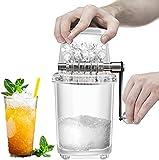 Manuell Eiscrusher Tragbare Zuhause Crushed Ice Maschinen,Mini-Eisrasierer mit Handkurbel, Schneekegelmaschine (Transparentes Weiß)