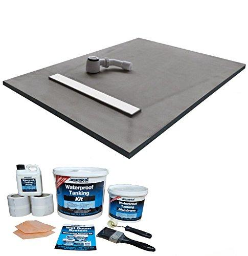 Wetroom Shower Tray & Aqua Kit 1500 x 900 x 30mm Linear Tile on Grate