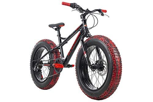 KS Cycling Kinderrad Fatbike 20'' Crusher 6217 Aluminiumrahmen schwarz-rot RH 36 cm