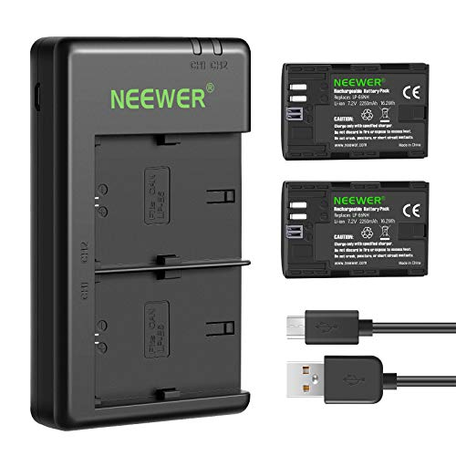 Neewer Replacement LP-E6NH Battery Rechargeable Battery Charger Set Compatible with Canon EOS R5, EOS R6, EOS R, 5D II III IV, 6D, 6D II, 7D, 7D II, 60D, 70D, 80D, 90D(2-Pack, Micro USB Port)