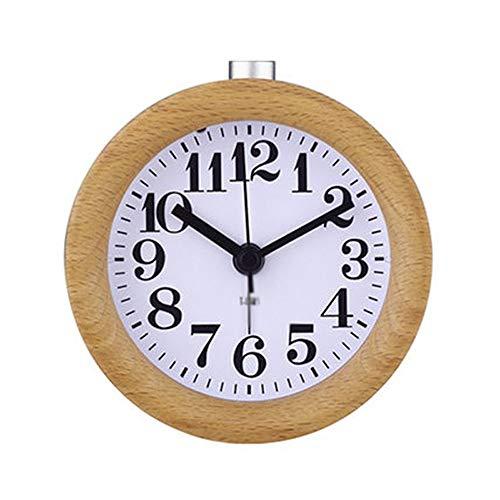 Cfilet Alarma portátil de Pantalla del Reloj silenciosa luz de la Noche de Madera de Madera de Cera de Aceite casa