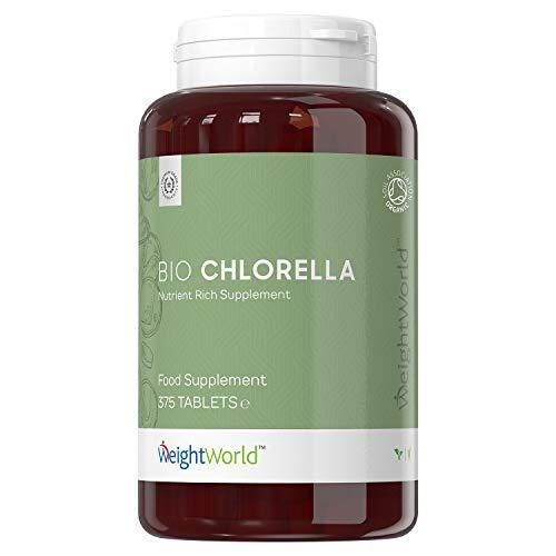 Alga chlorella Comprimidos Orgánica Bio Dosis Alta 4000mg 375 Comprimidos | Pared Celular Rota, Suplemento Adelgazante, Mejora Sistema Inmune, Rico en Proteína, Vitamina B12, Omega 3 y Clorofila