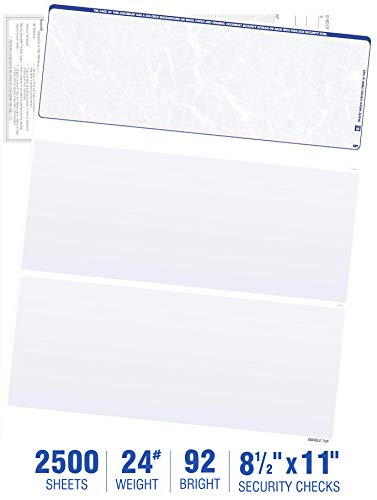 2500 Blank Check Stock-Check on Top-Blue Marble Pattern-Compatible with Quickbooks,Quicken,Versacheck and More-(2500 Laser Security Sheets-8.5''x11'' #24)-Made in USA with Pride!