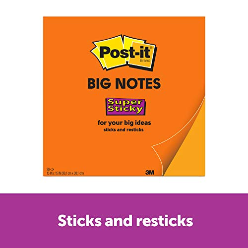 Post-it Super Sticky Big Notes, 15 x 15 Inches, 30 Sheets/Pad, 1 Pad (BN15), Large Neon Orange Paper, Super Sticking Power, Sticks and Resticks