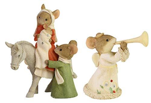 Enesco Gift Heralding Christmas Mouse Angel and Christmas Mice Bethlehem's Family Collectible Figurine Bundle of 2