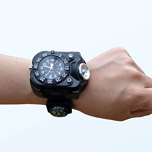 Yiwa outdoor sport herenhorloge armband waterdicht zaklamp 3 in 1 super helder licht kompas horloge LED zaklamp