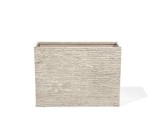 Beliani Vaso in Pietra e Resina Sintetica Beige Rettangolare 29 x 70 x 50 cm Edessa