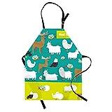 Qchengsan - Delantales de algodón para niños, diseño de Animales, con Correa Ajustable para el Cuello y Delantales de Chef, Grassland Animals, L: 19'(W) X23(H)
