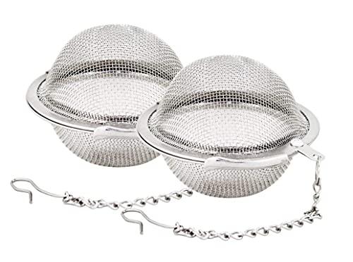 Pack de 2 coladores de té, filtro para té de acero inoxidable, colador de té de hojas sueltas, bola de infusión