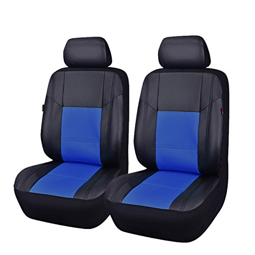CAR PASS Skyline Sport Sky Blue with Black PU Leather Car Seat Covers, 6 Pieces by CAR PASS