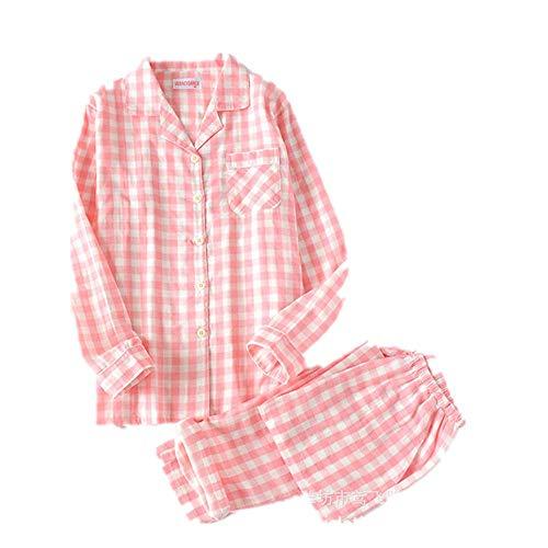 N\P Primavera Hombres y Mujeres Manga Larga Pijamas Plaid Ocio Camisa Larga Ropa De Dormir Algodón Más Tamaño Conjunto de Dormir Parejas Pijamas