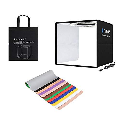 POHOVE - Scatola luminosa per studio fotografico, da 20,8 cm, kit per fotocopie, con fondali bifacciali e borsa per tote, mini tenda da tavolo USB per fotografia