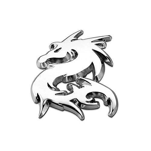 JFZS 3D Dragon Metal Car Sticker for Auto Car Motorcycle Logo Badge Emblem Tail Decals,Silver-B
