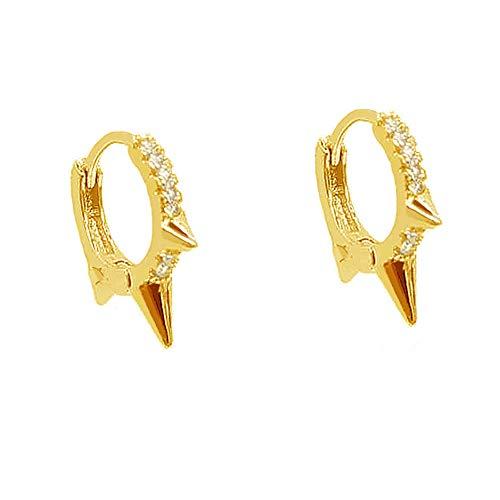 Punk Spikes Stud Small CZ Hoop Sterling Silver Earrings for Women Teen Girls Men Charms Huggie Hoops Cuff Cartilage Stud Tragus Helix Crystal Wrap Earrings Hypoallergenic Rock Fashion Jewellery