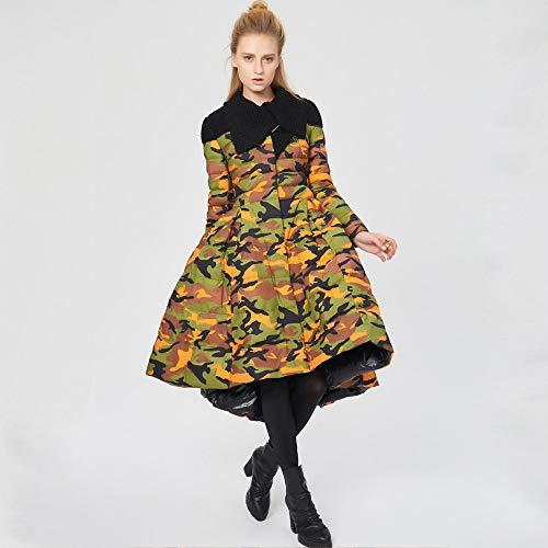 AFASSW Dames 90% Down Coat Ultra Winddicht Warm Lange Lengte Puffer Jacket Gewatteerde Parka Puffer Winterjas Bovenkleding, Creatieve rechtbank, stijlvolle vintage print