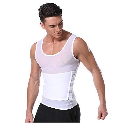 Jolie Kompressionsweste Herren Taille abnehmen Body Shaper Bauchkontrolle Muskelshirt mit Rückenstütze,White,L