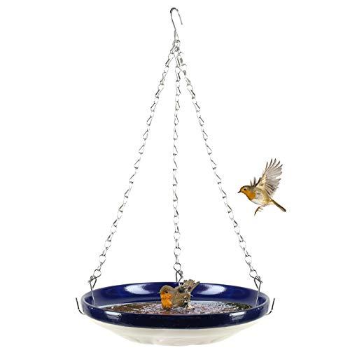 Large Hanging Wild Bird Bath with Bird Design Moulded Base - Safe Elevated Feeder/Bather