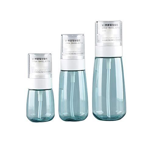 Fine Mist - Botellas de pulverización de pulverización portátil, Recargables, Botella de Viaje, Botella de espray de Fragancia, Botella vacía, Color Azul, Juego de 3