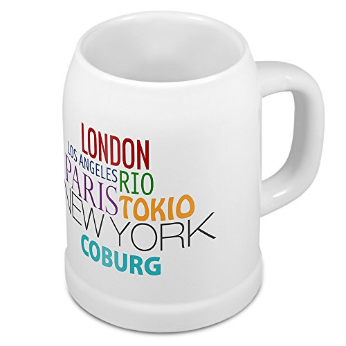 digital print Bierkrug mit Stadtnamen Coburg - Design Famous Citys in The World - Städte-Tasse, Becher, Maßkrug