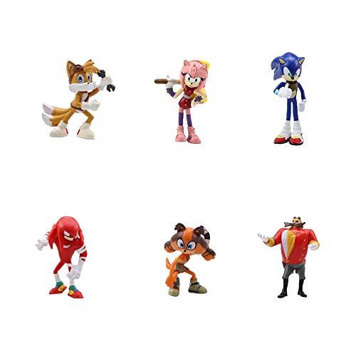 smileh Sonic Cake Topper Figuren Sonic The Hedgehog Kuchen Dekoration Figuren Sonic Shadow Tail Mini Figuren Set 6 Stück Für Kinder