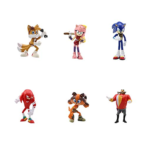 smileh Sonic The Hedgehog Cake Topper Figure Sonic Shadow Tails Mini Figures Set Sonic Compleanno Decorazioni Figure 6 Pezzi per Bambini