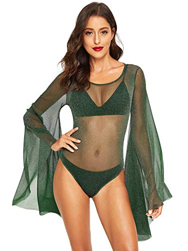 Romwe Women's Sexy Backless Bell Sleeve Glitter Sheer Mesh Bodysuit Green S
