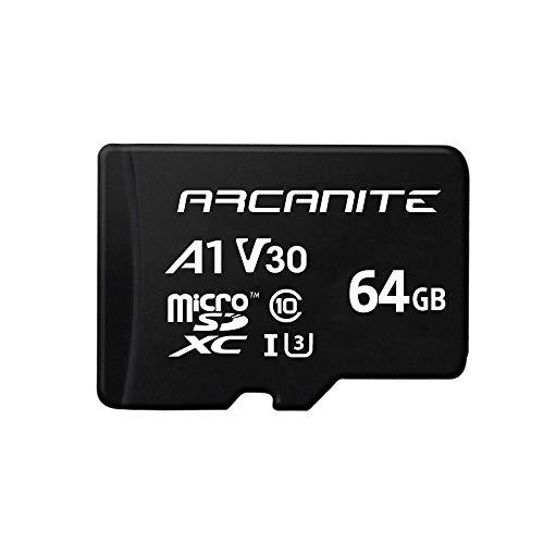 ARCANITE 64 GB microSDXC-Speicherkarte mit Adapter - UHS-I U3, A1, V30, 4K, C10, microSD, Lesegeschwindigkeiten von bis zu 90 MB/s.